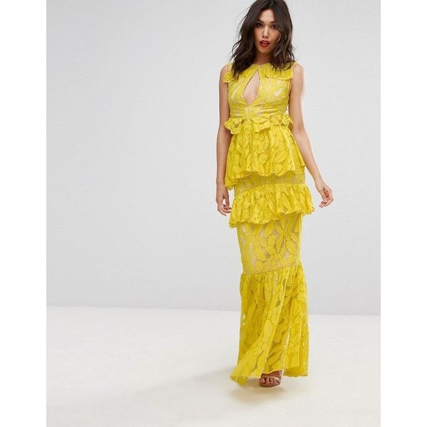 PrettyLittleThing Frill Detail Fishtail Lace Maxi Dress (102 CAD) ❤ liked on Polyvore featuring dresses, yellow, lace dress, cutout dresses, cut out maxi dress, fishtail maxi dress and yellow lace dress