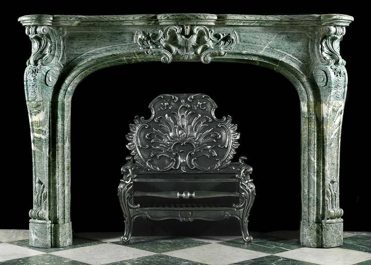 Antique Louis XV Rococo Green Campan Marble Fireplace Mantel