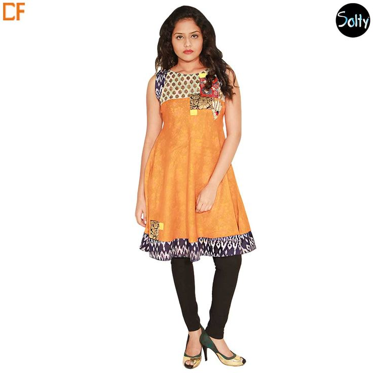 Orange block printed kurti in cotton material. Opt for cotton as it is a natural product and has many advantages, such as, it's ability to control moisture, insulate, weatherproof and a durable fabric. The kurti has a boat neckline, sleeves, with a flared bottom, contrast block prints on the overlay, and hems. http://www.droomfashion.com/shop/brands-kurtis/orange-block-printed-kurti/