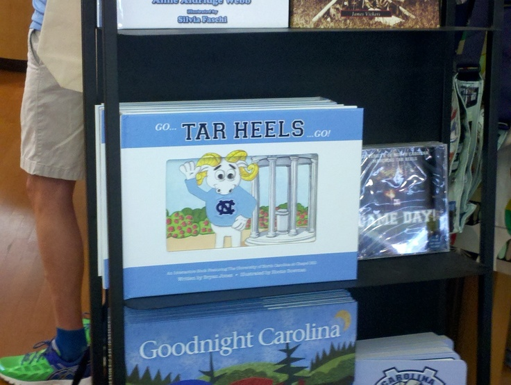 UNC's bookstore Rams Head. Carrying #GoTarheelsGo