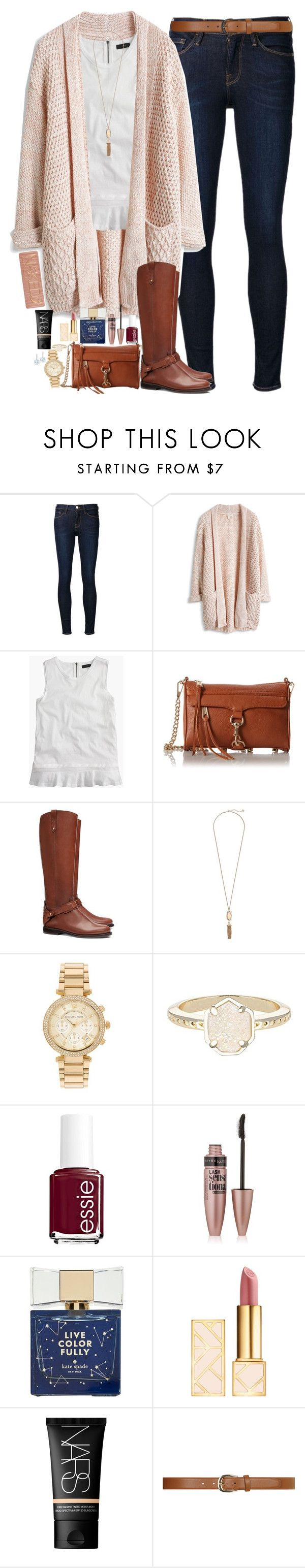"""Comment To Be On My Tag List!"" by teamboby ❤ liked on Polyvore featuring Frame Denim, J.Crew, Rebecca Minkoff, Tory Burch, Kendra Scott, Michael Kors, Essie, Maybelline, Kate Spade and Urban Decay"