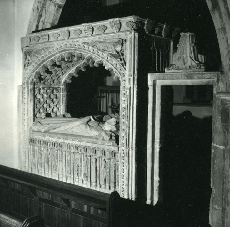 A photo of the alter tomb at the Church of St. Nicholas, Henstridge, Somerset, England of William Carent and Margaret Stourton (1463), including the arms of Stourton on the top of tomb).