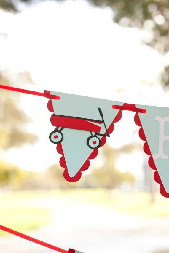 Little Red Wagon Birthday Banner - Radio Flyer Pennant Style Can be customized to any colors via Etsy