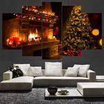 Christmas Wall Art, Christmas Wall Decor, Large Christmas Tree 5 Piece Canvas Art, Christmas Canvas Print, Framed #christmasart