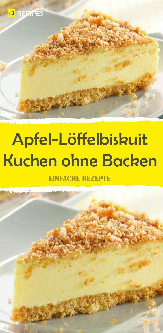 Apfel-Löffelbiskuit-Kuchen ohne Backen