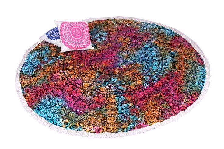 Bohemian Ombre Towel Round Tapestry Multi Color Mandala Beach Yoga Mat Handmade Asianorient Round Tapestry Mandala Tapestries Wall Hangings Bohemian Yoga Mat