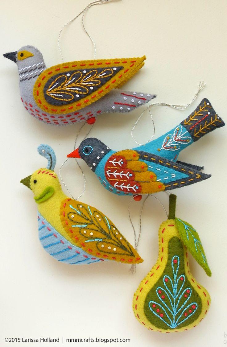 Los pájaros de fieltro de Mmm Crafts