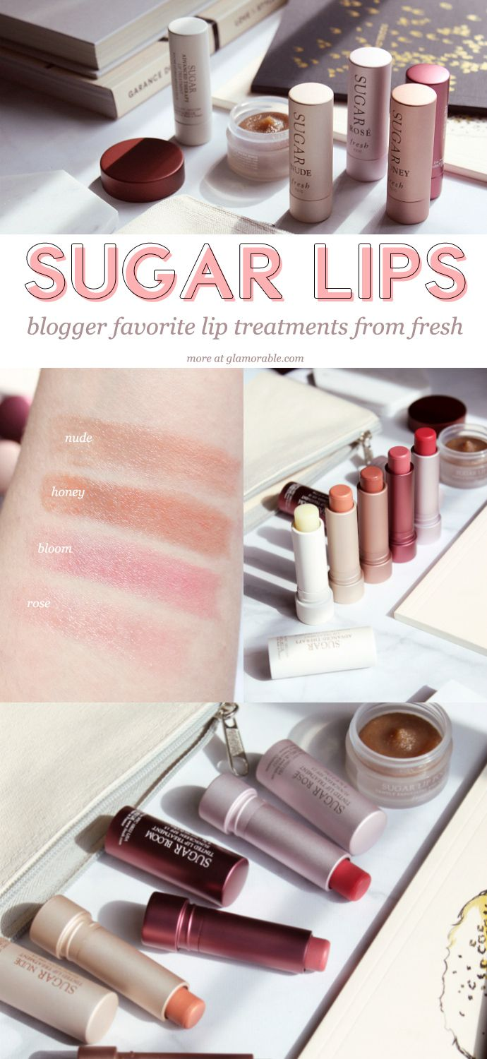 Fresh Sugar Lip Treatment Swatches: Nude, Honey, Bloom, Rose | fresh Sugar Lip Polish & Lip Treatment Perfecting Wand Review