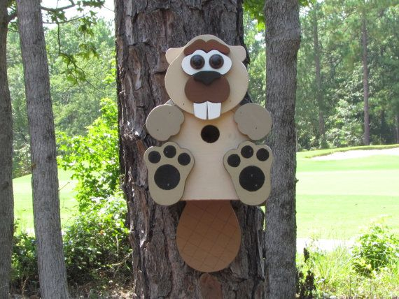 Buffy Beaver Birdhouse by CraftedCritters on Etsy