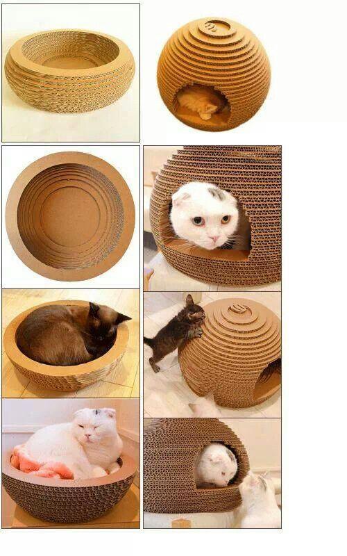 Diy cardboard cats bed