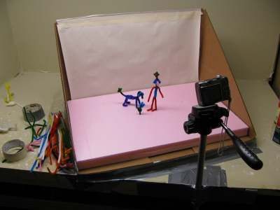 Animation Studio; stop motion with pipe cleaners