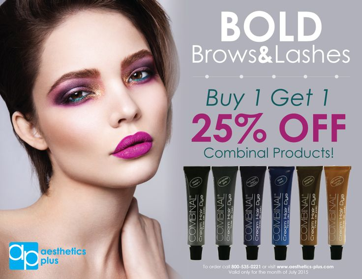 Get your brows and lashes BOLD and BEAUTIFUL with this months special! Stock up with all your favorite tints with our buy 1 get 1 25% off Combinal products. Valid only for the month of July 2015. To order call 800-535-0221 or visit www.aesthetics-plus.com