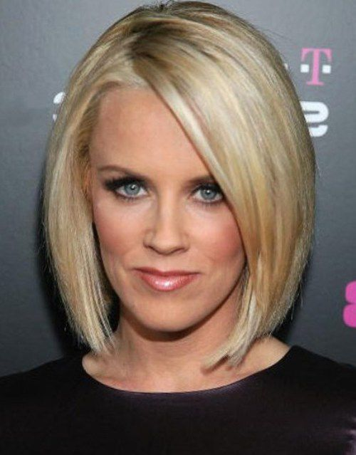 Jenny McCarthy Super Sleek and Straight Asymmetrical Bob with Overlong Bangs