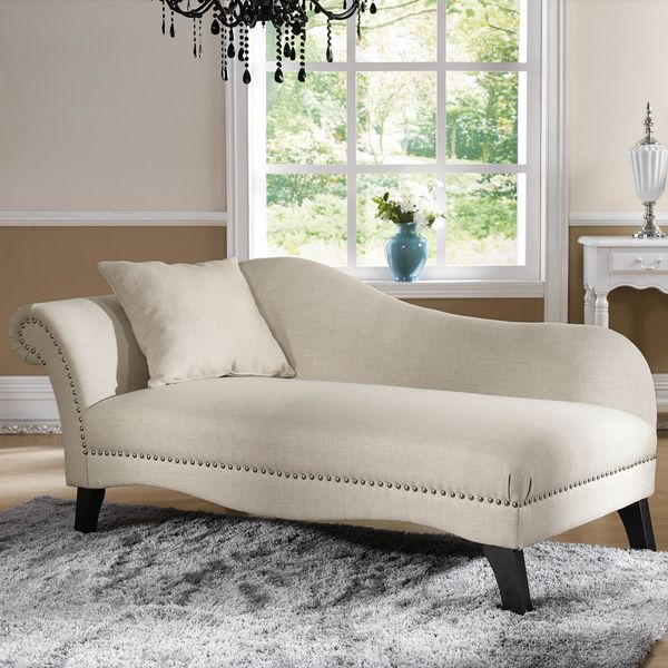 baxton studio beige linen modern chaise lounge overstock shopping great