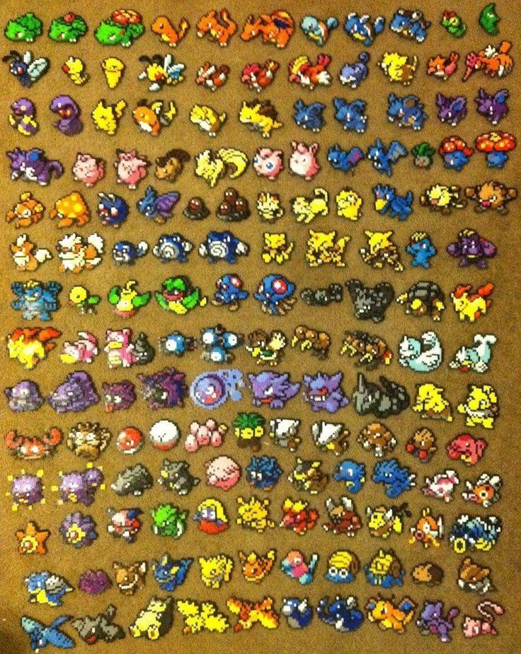 deviantart: all 151 pokemon sprite perler