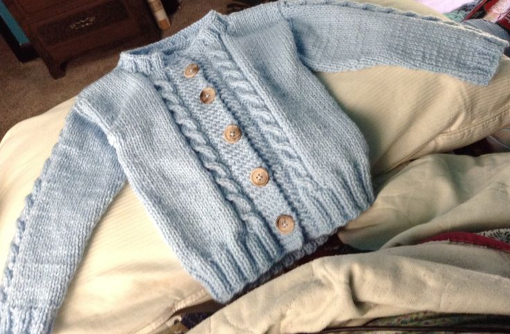 It is done.  Pattern is LW 3658 Boy from Red Heart.    Prince Cardigan