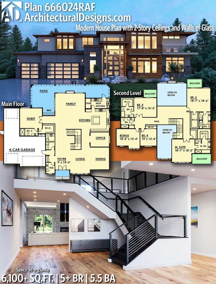 Plan 666024raf Modern House Plan With 2 Story Ceilings And Walls Of Glass In 2021 Architectural Design House Plans Modern House Plan Contemporary House Plans Modern house plan with garage under