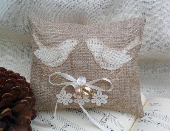 DIY Burlap ring bearer pillow with burlap love birds appliqué  & vintage glass button.