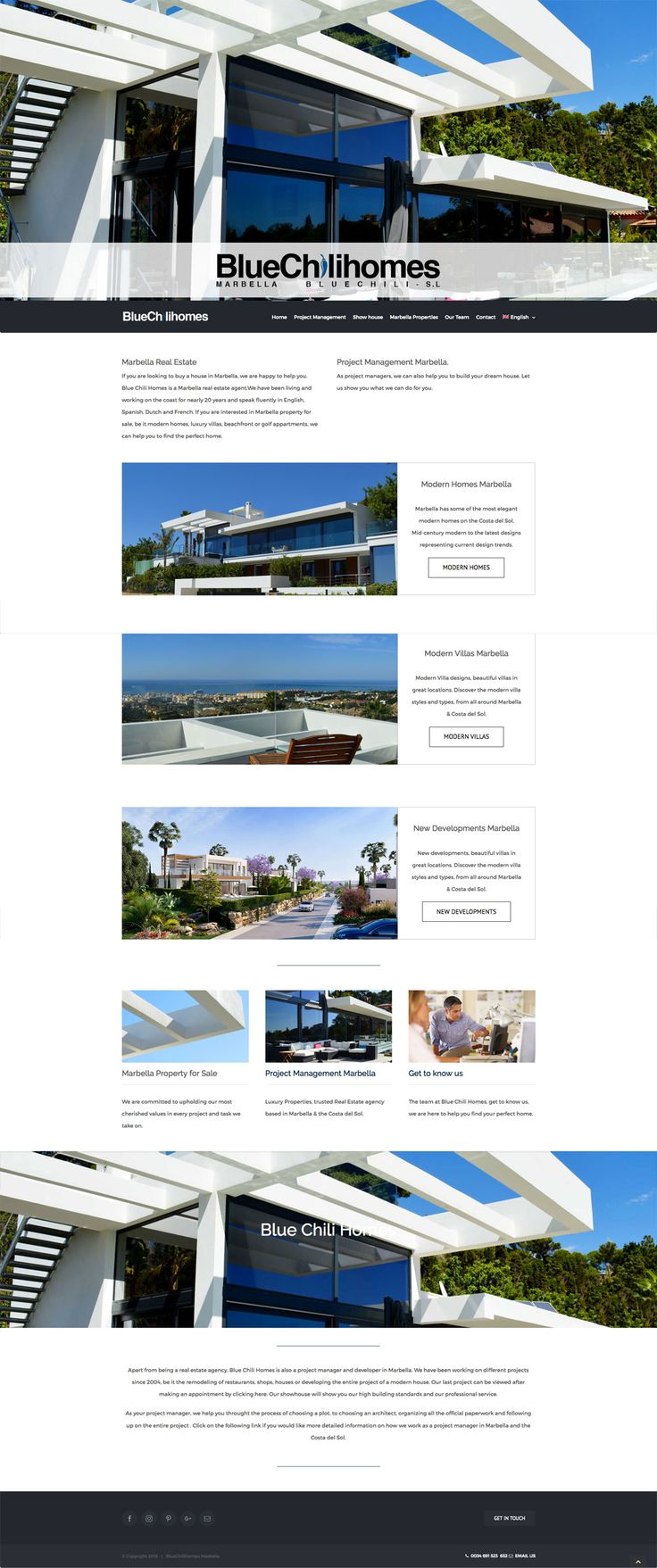 WordPress Real Estate Marbella, Property Listing website with WordPress. Custom web design layouts, Blue style themed throughout, WordPress Real Estate system to handle properties from the costa del sol. The wordpress site is fully responsive on android, tablets and all devices for ease of visitors use..