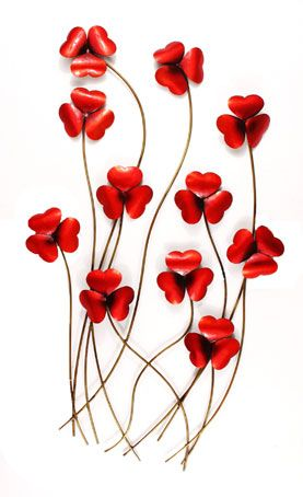 red poppy metal wall art