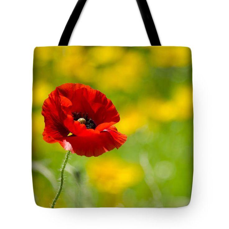 "Red Poppy  Tote Bag 18"" x 18"""