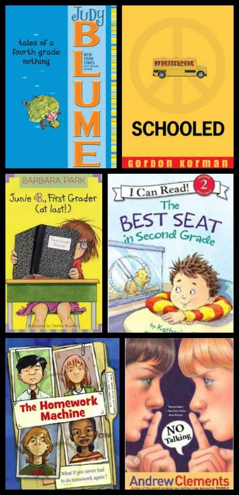Great books to get the kids ready for back to school and the next grade -- titles for preschool to middle school!