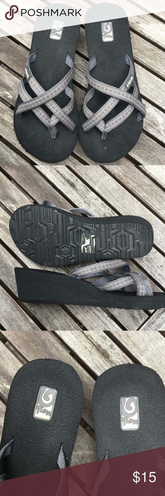 """TEVA wedge flip flops. 2"""" heel. Worn less than 10 times. Gray and white design go with any outfit. Teva Shoes"""