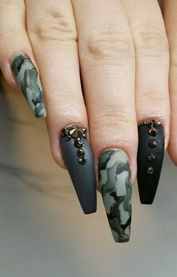 Camo Black Matte Long Coffin Shaped Camouflage Nails Camo Nails Camo Acrylic Nails