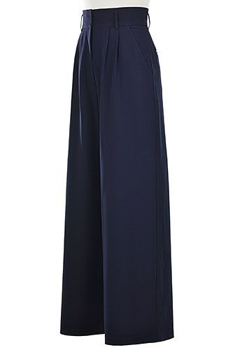 High Waist Palazzo Polyester Stretch Crepe Twill Pants | eShakti