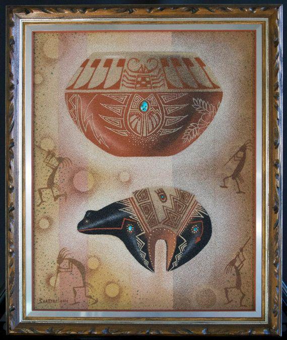 EUGENE BAATSOSLANII JOE / Navajo Native American Sand Painting / Famous Navajo Artist