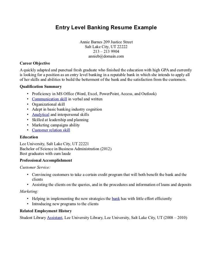 Entry Level Banking Resume - http://topresume.info/entry-level-banking-resume/