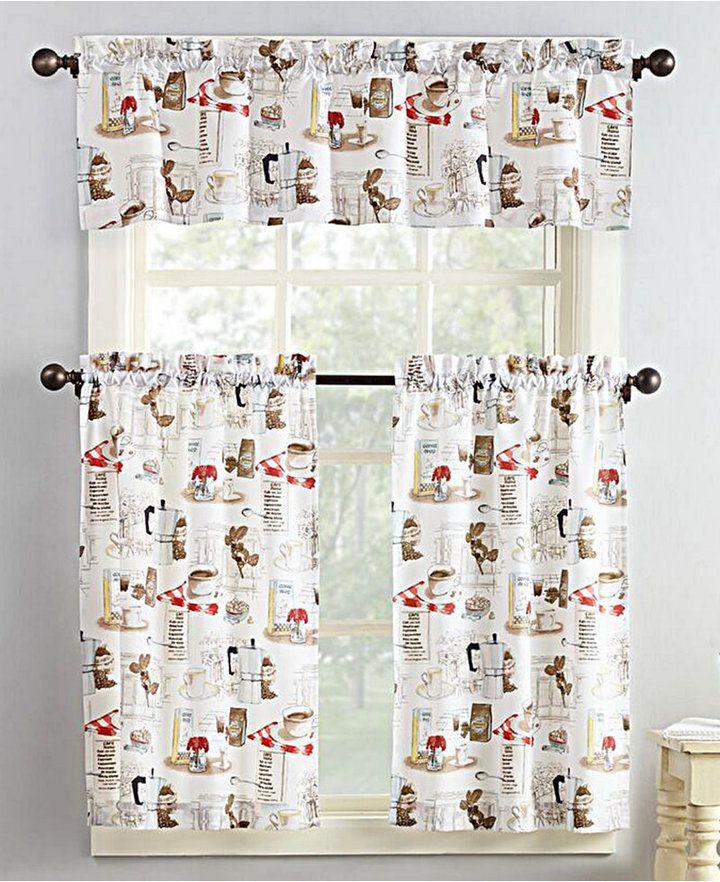 Lichtenberg No. 918 Brew 3-Pc. Graphic-Print Microfiber Rod Pocket Kitchen Curtain Set Bedding