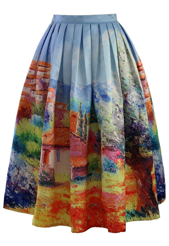 Turn Back Time Scenic Print Midi Skirt - Skirt Buy 1 Get 1 HALF - Skirt - Bottoms - Retro, Indie and Unique Fashion