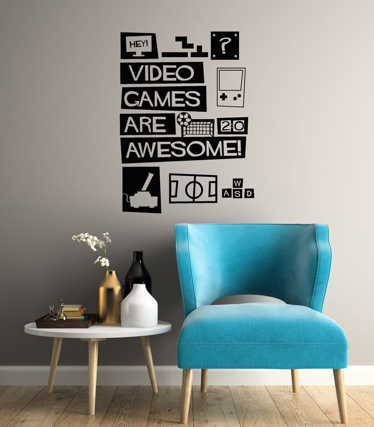 Video Games Vinyl Wall Decal Gamer Room Playroom Quote Stickers Mural (#3093di)