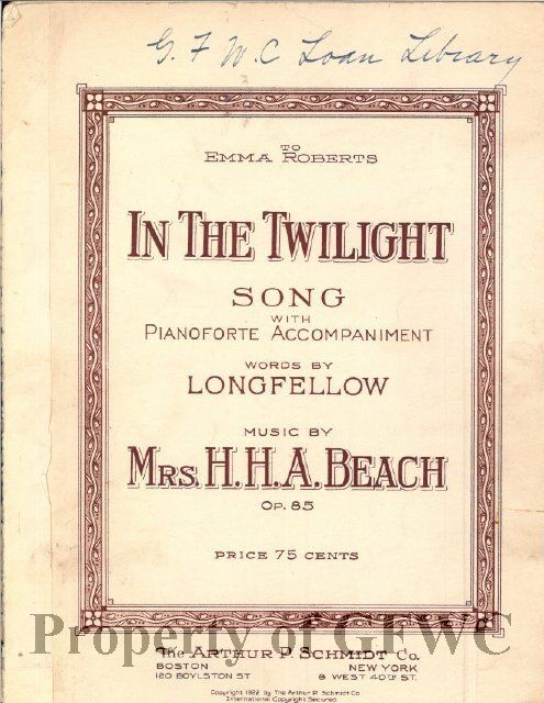 """Sheet music for """"In the Twilight"""", ca. 1922.  From the General Federation of Women's Club collection."""