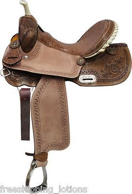 """16"""" DOUBLE T BARREL SADDLE WITH BROWN FILIGREE TOOLING FULL QH BARS"""