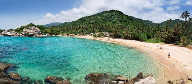 Praia no Parque Nacional Natural Tayrona, Colômbia