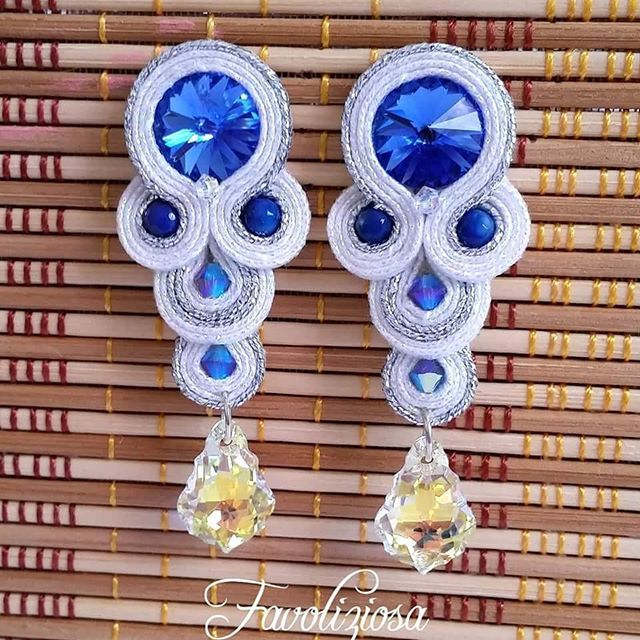 "Soutache earrings "" Tears Saphire "" #favoliziosa #bijoux #soutache #svarowski…"