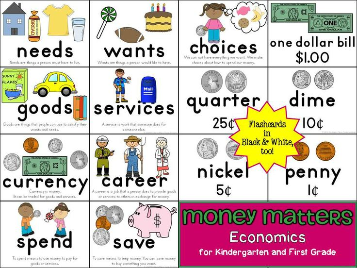 Money Matters: Interactive Economics Folder for Kindergarten and First Grade--mini-books, flashcards, and more! Includes needs and wants, goods and services, coins, careers... #wantsandneeds #goodsandservices #economics #socialstudies $