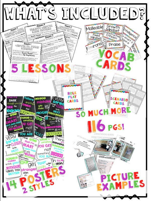 Growth Mindset Lessons Everything you need to teach GROWTH  MINDSET: posters, role play cards, vocab, anchor charts and hands on lessons...                                                                                                                                                      More