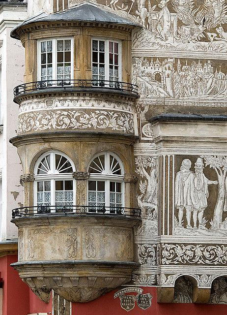 "Renaissance façade of the apartment house called ""Under the Quail's Basket"" in Legnica, Poland"