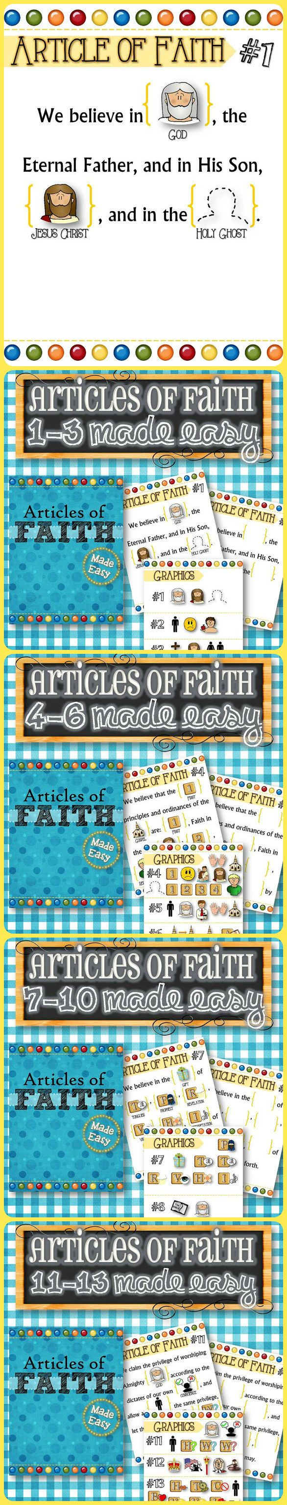 """Articles of Faith 1-13 Made Easy! Easy enough for even toddlers and small children to learn and understand the concepts. Each Article comes with gospel related pictures to help little ones memorize the words. Each Article of Faith also comes with a """"blank"""" version so the child can recite from memory and place the pictures in the right order. My 3 year old had #1 and #2 memorized within a week! Good luck! **FREEBIE INCLUDED**"""