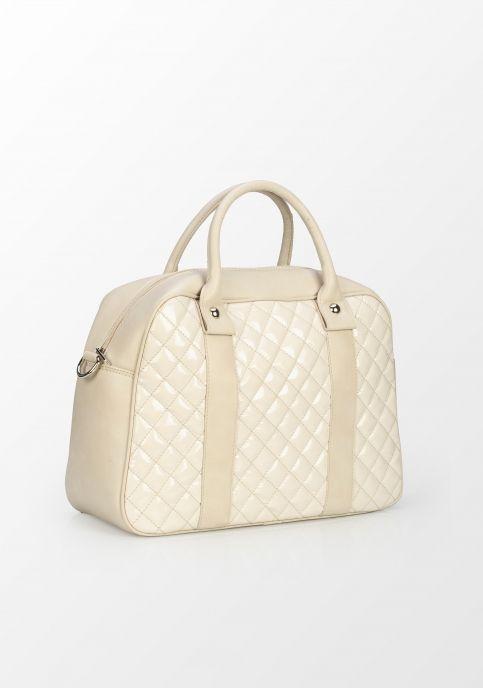 Tris Company, geantă matlasată cu detalii lăcuite, crem