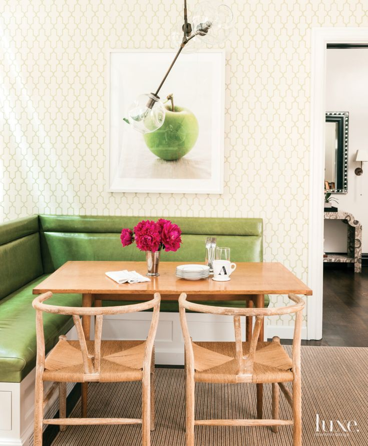 Eclectic White Breakfast Area with Green Banquette