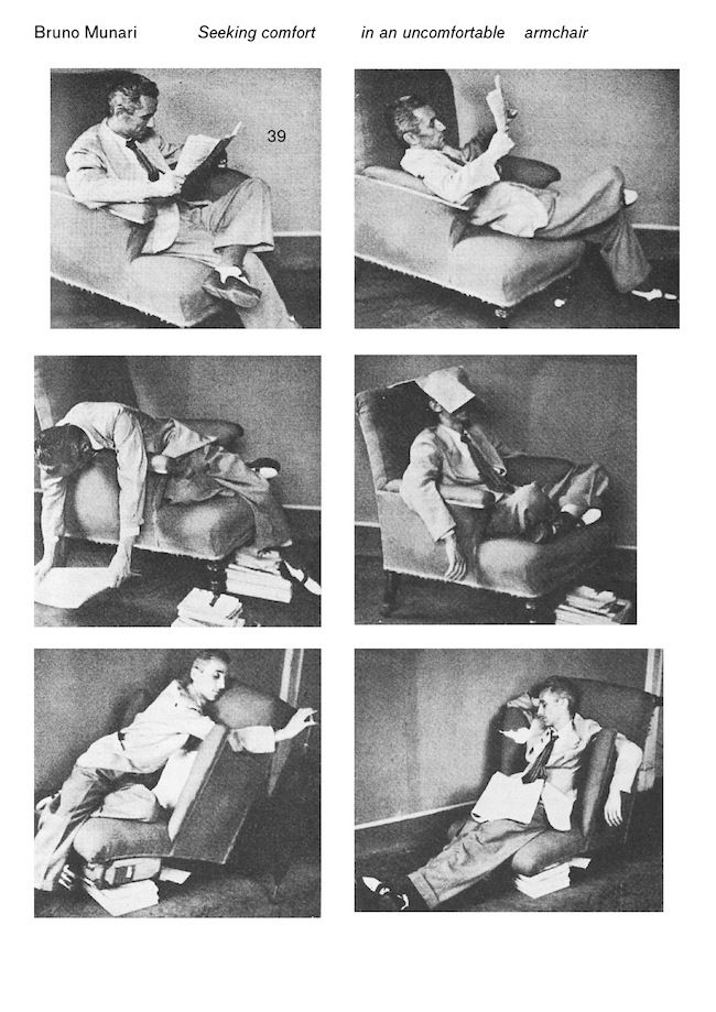Bruno Munari, seeking comfort, in an uncomfortable armchair