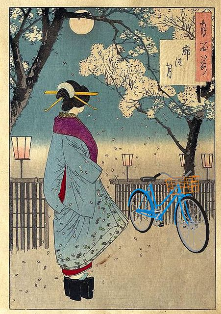Bicycle in the Pleasure Quarter, after Yoshitoshi