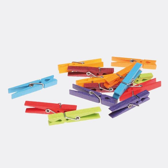 Holz SpielkUche Von Beiden Seiten Bespielbar ~ Regenbogenfarbene Holz Wäscheklammern (14 Stk ) Schöne, bunte Holz