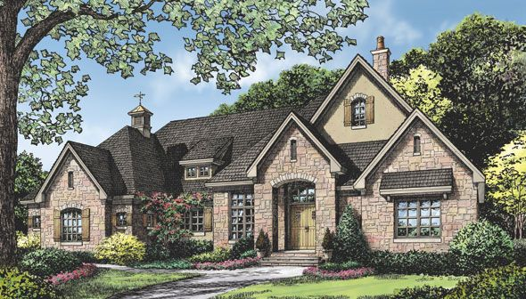 House Plans with Photos: The Fincannon Plan 1234 http://houseplansblog.dongardner.com/house-plans-photos Enjoy interior and exterior photos of this luxurious European ranch home plan, from the dining room to the unique master suite. #House #Plans #Blog #Photos