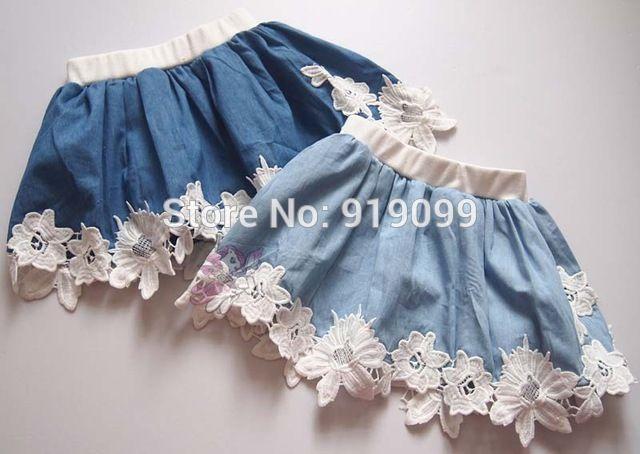 5 unids/lote niñas Tutu falda pettiskirt mullido princesa falda de mezclilla Lace Skirt Kids faldas ocasionales venta al por mayor envío gratuito