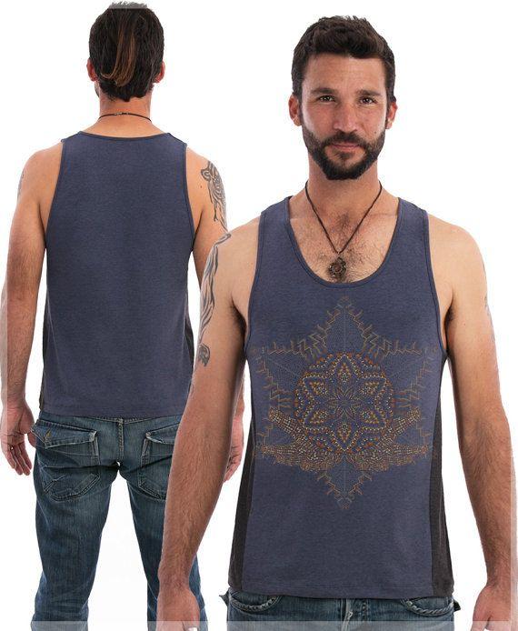 Sacred Geometry Men Tank In Blue Or Olive, Silk Screen Print, Psychedelic, Mens Tank Top, Anahata, Chakra, Uv Glow